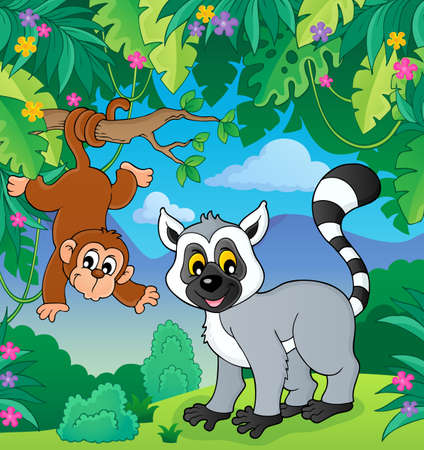 Lemur and monkey in jungle image 1 - eps10 vector illustration.