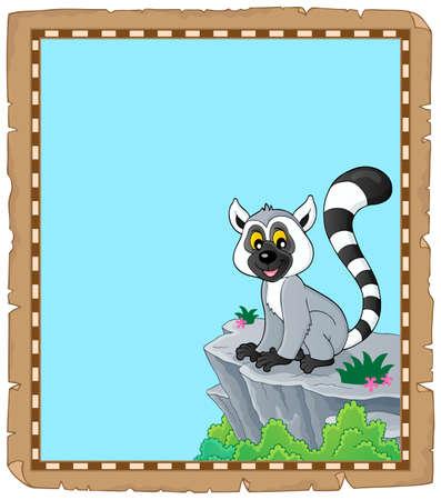 Lemur theme parchment 1 - eps10 vector illustration.