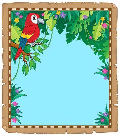 Parchment with parrot in jungle - eps10 vector illustration.
