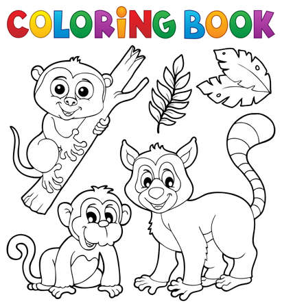Coloring book primates and monkey - eps10 vector illustration.