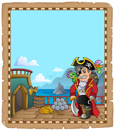 Pirate ship deck topic parchment 1 - eps10 vector illustration.