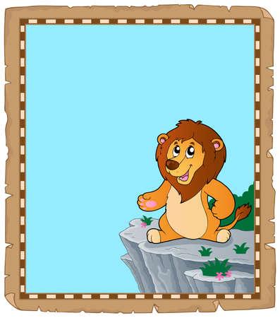 Lion theme parchment 2 - eps10 vector illustration.