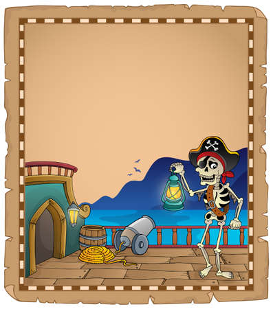 Pirate ship deck topic parchment 4 - eps10 vector illustration.