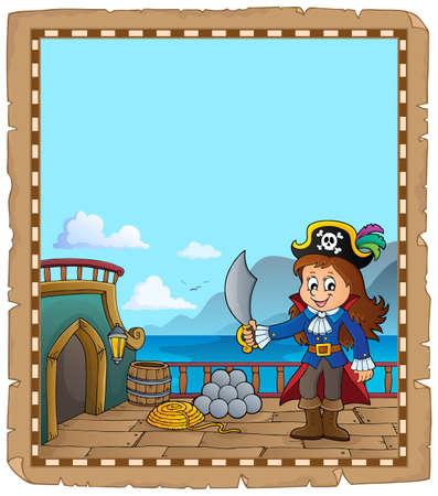 Pirate ship deck topic parchment 3 - eps10 vector illustration. 向量圖像