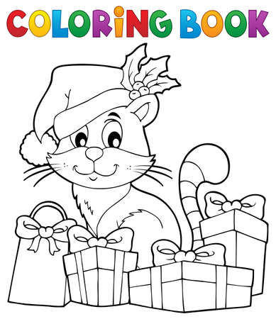 Coloring book Christmas cat theme 3 - eps10 vector illustration.