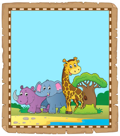 Parchment with African animals 4 - eps10 vector illustration.