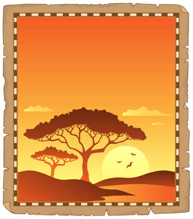 Parchment with savannah sunset scenery vector illustration.