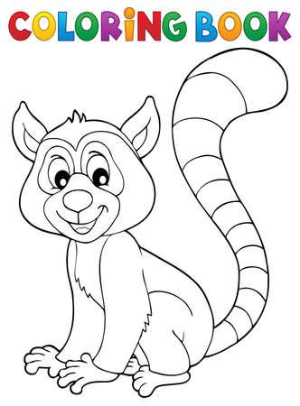 Coloring book lemur theme 1 - eps10 vector illustration.