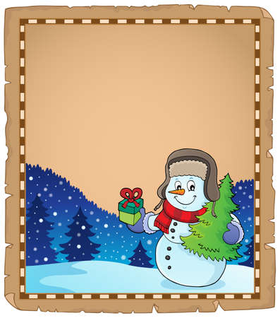 Christmas snowman subject parchment 4 - eps10 vector illustration. Stock Illustratie
