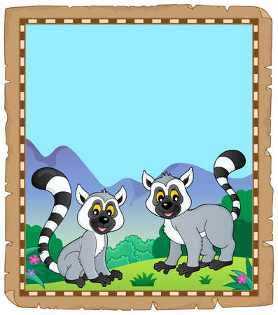 Parchment with two happy lemurs - eps10 vector illustration. 向量圖像
