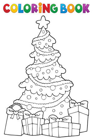 Coloring book Christmas tree and gifts 2 - eps10 vector illustration. 向量圖像