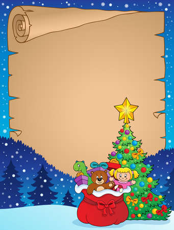Christmas tree and gift bag parchment 2 - eps10 vector illustration. Illustration