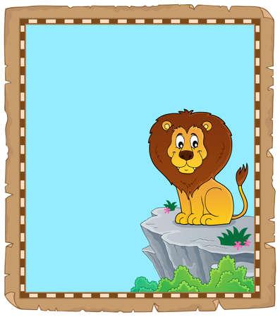 Lion theme parchment 3 - eps10 vector illustration. Stock Illustratie