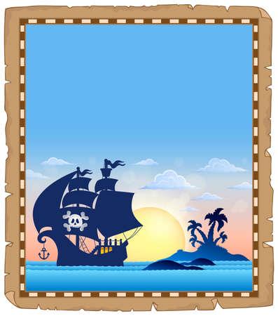 Pirate topic parchment 4 - eps10 vector illustration. Banque d'images - 127098502