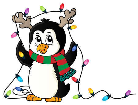 Penguin with Christmas lights image 1 - eps10 vector illustration.