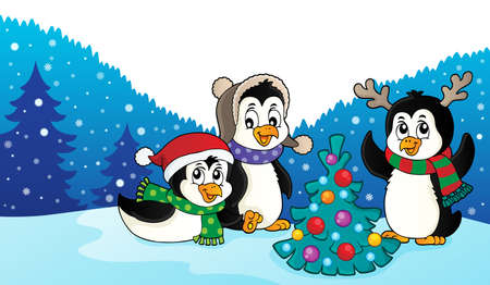 Christmas penguins thematic image 3 - eps10 vector illustration. Illustration