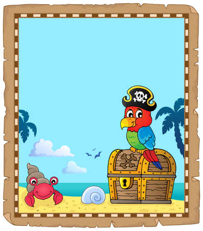 Parchment with pirate parrot theme 1 - eps10 vector illustration. Stock Illustratie