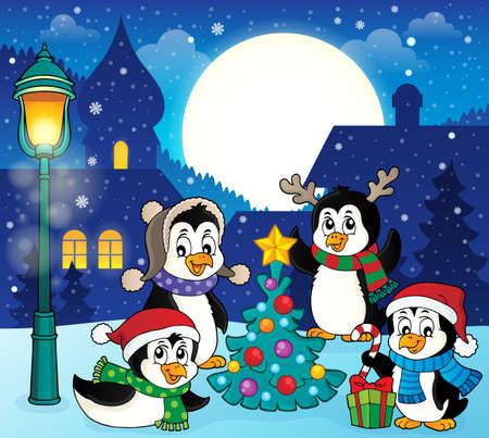 Christmas penguins thematic image 5 - eps10 vector illustration. Stock Illustratie
