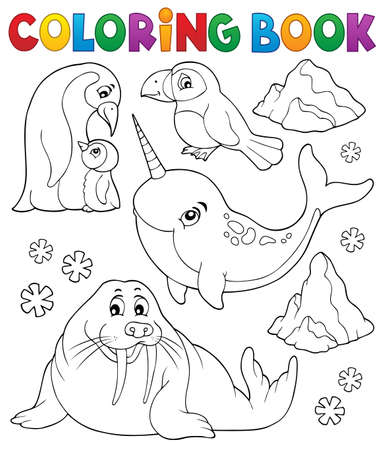 Coloring book winter animals topic 1 - eps10 vector illustration. Banque d'images - 126793055