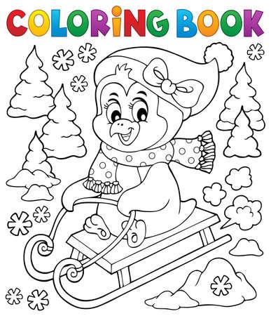 Coloring book sledging penguin theme 2 - eps10 vector illustration. Vector Illustration