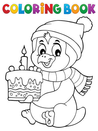 Coloring book penguin with cake theme 1 - eps10 vector illustration.