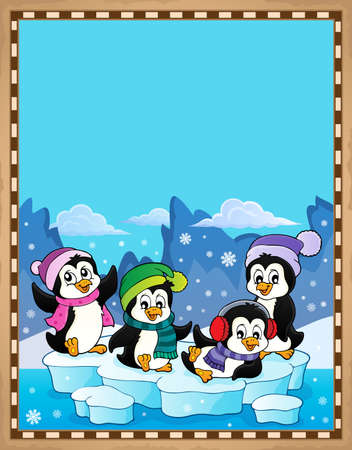 Happy winter penguins topic parchment 1 - eps10 vector illustration. Illustration