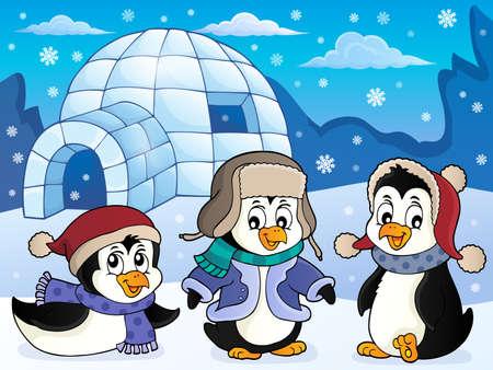 Igloo with penguins theme 4 - eps10 vector illustration. Vektoros illusztráció