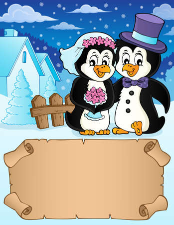 Small parchment and penguin wedding 2 - eps10 vector illustration.