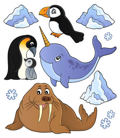 Winter animals topic set 1 - eps10 vector illustration. Banque d'images - 126793077
