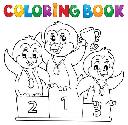 Coloring book penguin winners theme 1 - eps10 vector illustration.