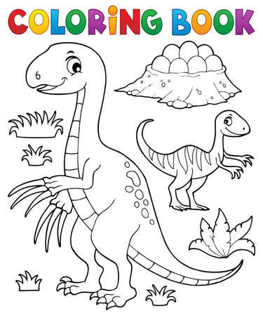 Coloring book dinosaur subject image 3 - eps10 vector illustration.