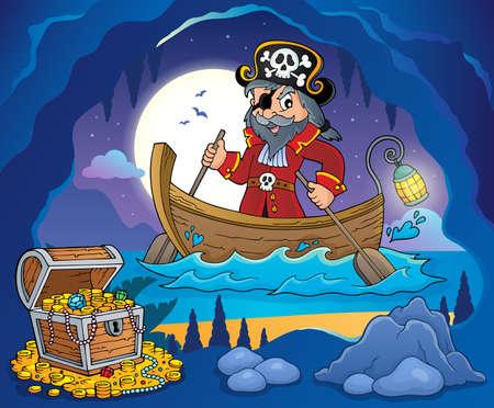 Pirata en imagen de tema de barco 3 - Ilustración de vector de eps10.