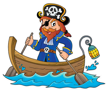 Pirate in boat topic image 1 - eps10 vector illustration.