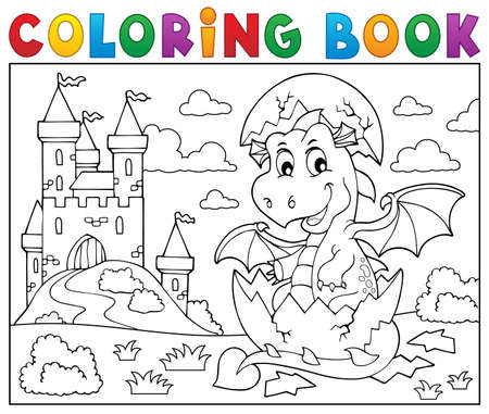 Coloring book dragon hatching from egg 2. vector illustration.