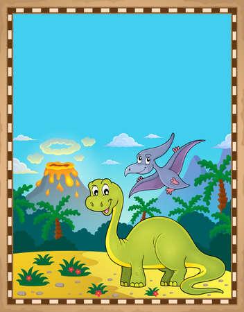 Dinozaur tematu pergamin 1 - ilustracja wektorowa eps10.