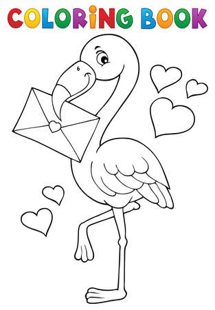 Coloring book flamingo with love letter - eps10 vector illustration. Vektoros illusztráció