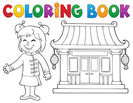 Coloring book girl by Chinese temple - eps10 vector illustration. Ilustracja