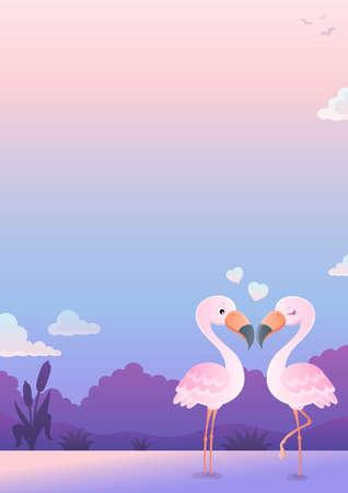 Valentine flamingos topic image 6 - eps10 vector illustration.