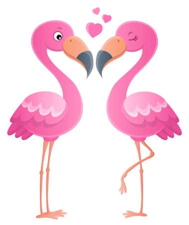 Valentine flamingos topic image 1 - eps10 vector illustration.