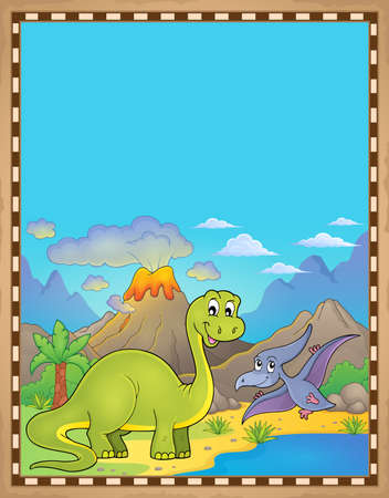 Dinosaur theme parchment 6 - eps10 vector illustration. Illustration