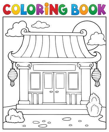 Coloring book Chinese temple theme 1 - eps10 vector illustration.