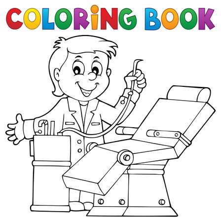Tema de dentista de libro para colorear 1 - ilustración de vector de eps10.