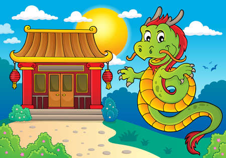 Chinese dragon topic image 2. vector illustration.