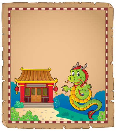 Chinese dragon topic parchment 1. vector illustration.