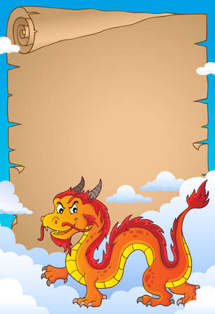 Chinese dragon theme parchment 3. vector illustration. Illustration