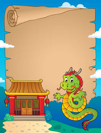 Chinese dragon topic parchment 2. vector illustration.