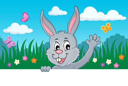 Lurking Easter bunny topic image 5 - eps10 vector illustration.
