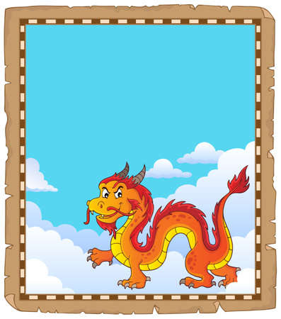 Chinese dragon theme parchment 4. vector illustration. Illustration