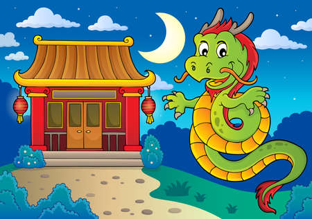 Chinese dragon topic image 4. vector illustration.