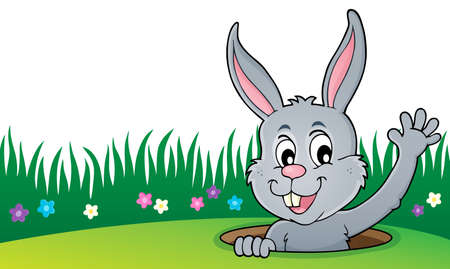 Lurking Easter bunny topic image 4 - eps10 vector illustration.